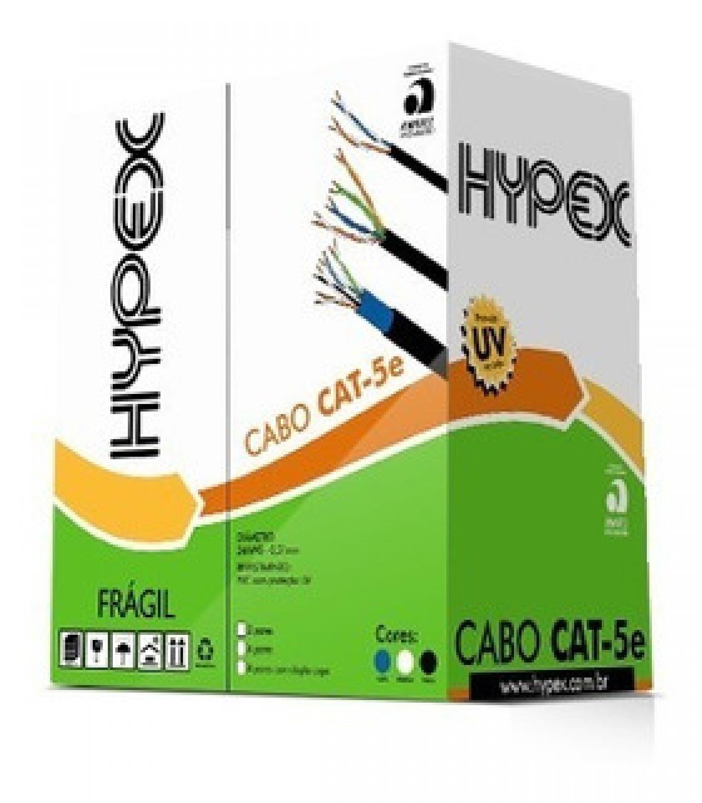 CABO REDE HYPEX 4P CAT5 CX 305M PRETO 100 COBRE